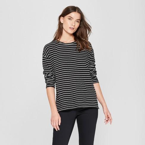 Women s Striped Drop Shoulder Long Sleeve T-Shirt - Universal Thread™  Black White 59bf6c61007