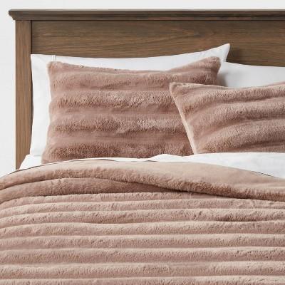 Textured Faux Fur Comforter & Sham Set - Threshold&#153