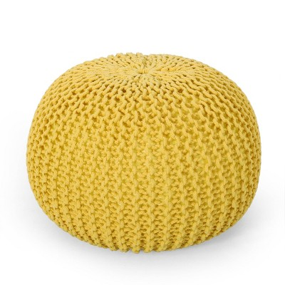 Nahunta Modern Knitted Cotton Round Pouf Yellow - Christopher Knight Home