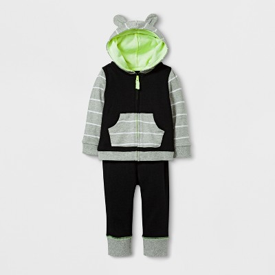 Baby 2pc Hoodie and Jogger Set Cloud Island™ - Black 3-6M