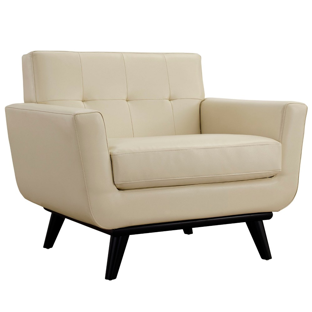 Engage Bonded Leather Armchair Beige - Modway