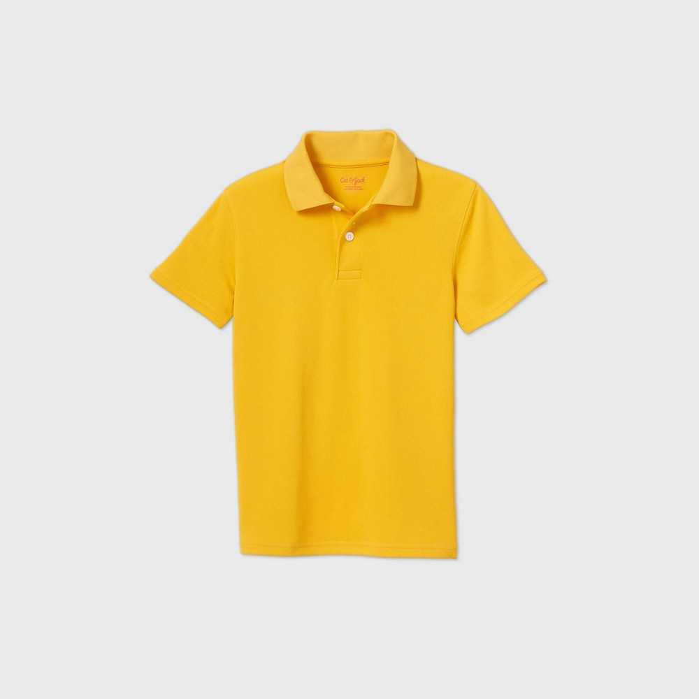 Boys Short Sleeve Performance Uniform Polo Shirt - Cat & Jack Gold L