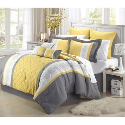 Queen 8pc Arlington Comforter Set Yellow - Chic Home Design