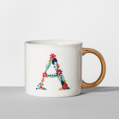 Monogrammed Porcelain Floral Mug A 16oz White/Gold - Opalhouse™