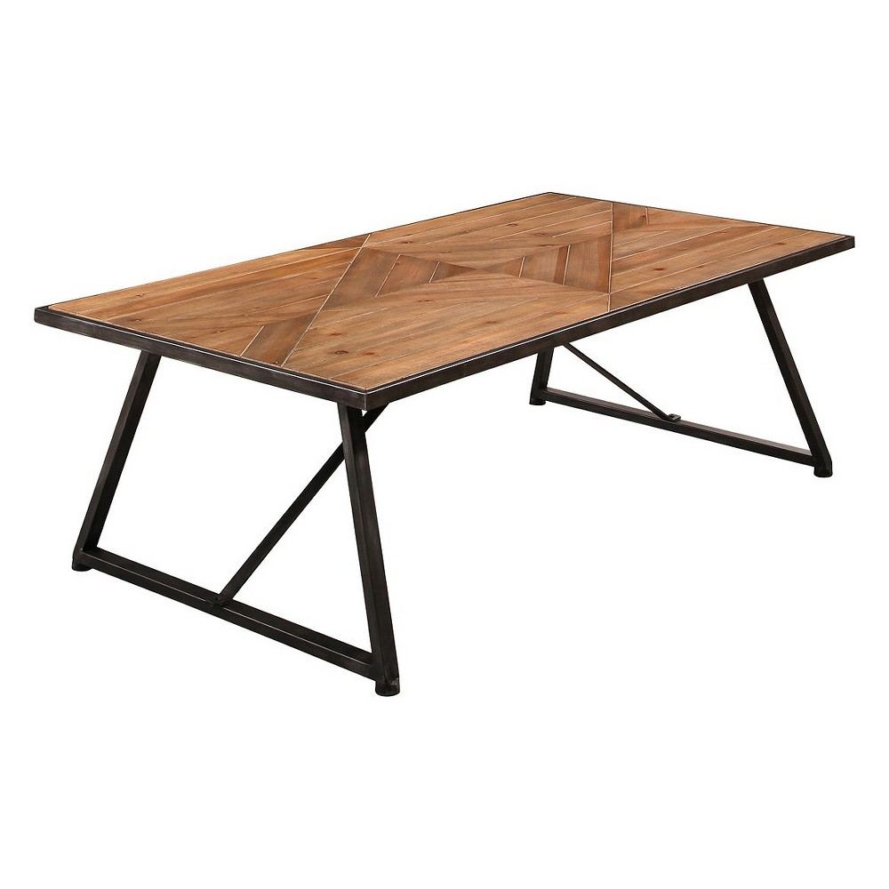 Daly Industrial Wood and Iron Coffee Table - Natural - Abbyson