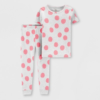 Little Planet Organic by carter's Baby Girls' Dots Pajama Set - Gray 12M