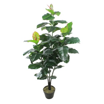 """Northlight 51"""" Potted Green and Red Artificial Rubber Inspired Plant - Unlit"""