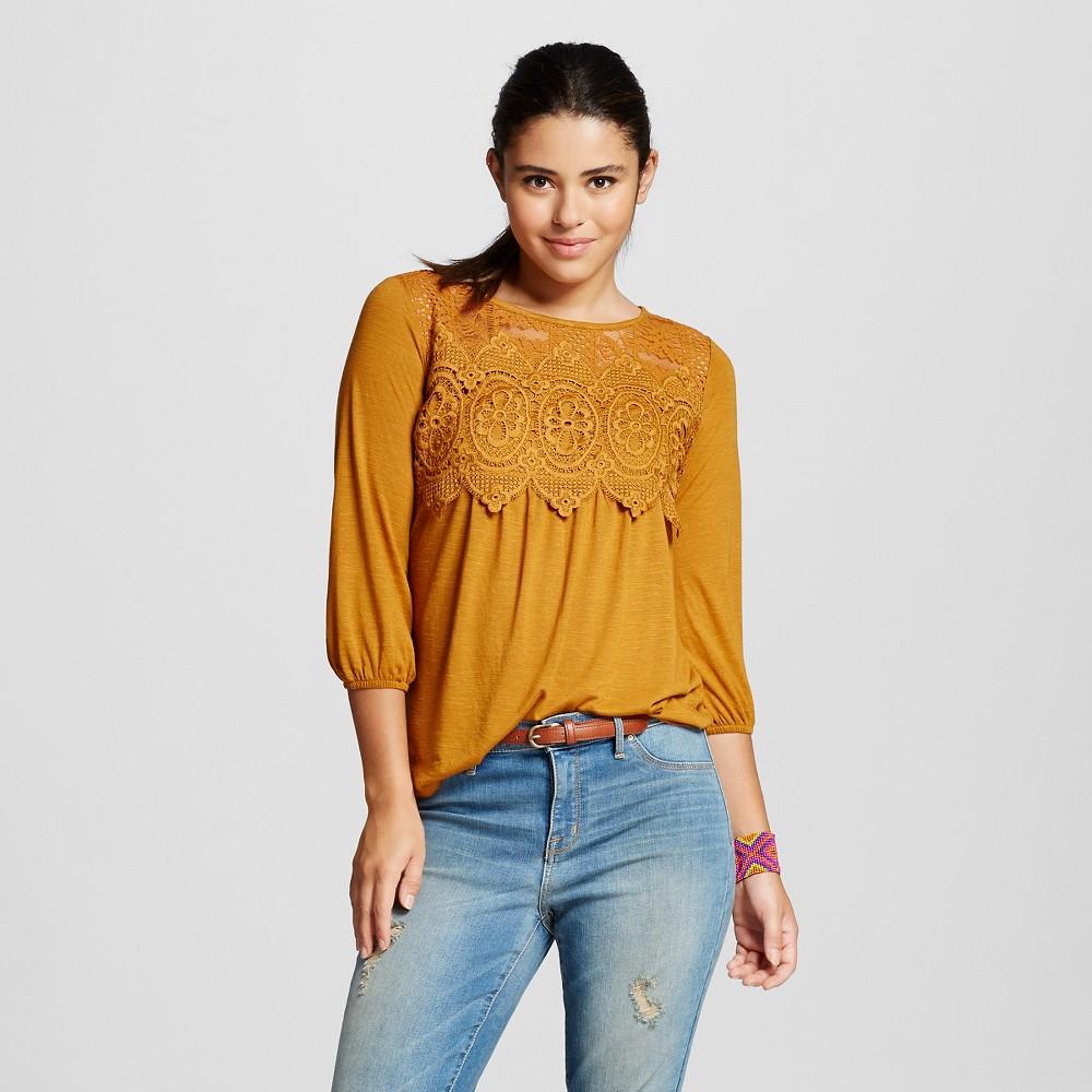 Women's Crochet Knit Top - Xhilaration Gold XL
