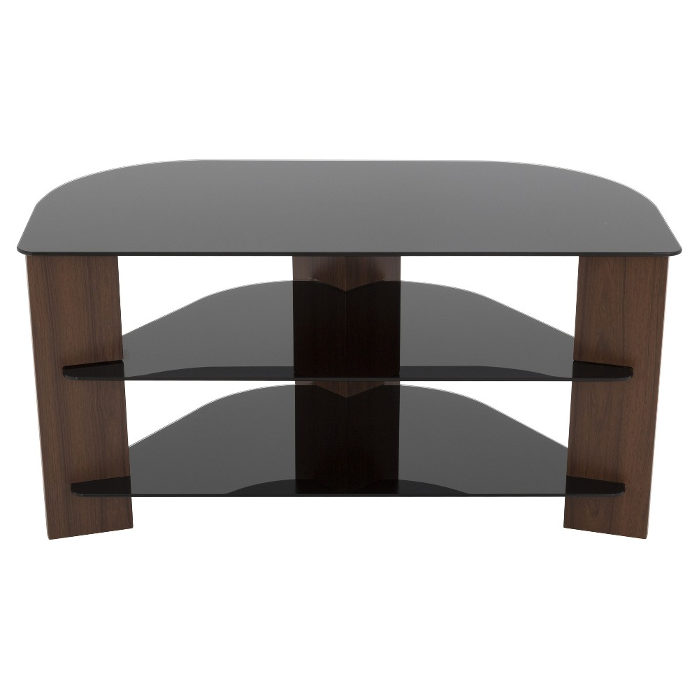 """Image of """"42"""""""" TV Stand with Glass Shelves - Walnut/Black, Brown"""""""