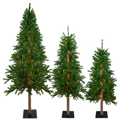 Northlight 3ct Pre-Lit Alpine Artificial Christmas Trees 4ft, 5ft and 6ft - Clear Lights