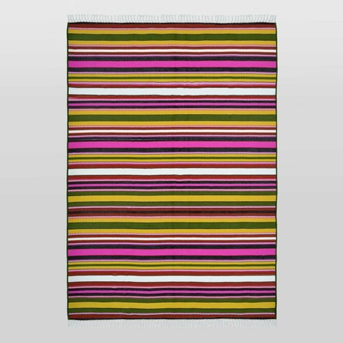 7'x10' Basket Stripe Outdoor Rug Green/Pink - Opalhouse™ - image 1 of 3