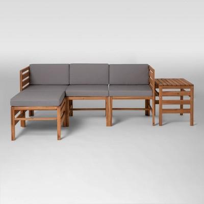 5pc Modular Acacia Sectional - Brown - Saracina Home
