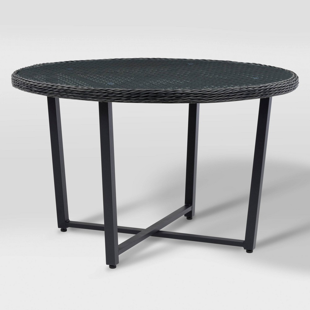 Parkview Round Glass Inset Patio Dining Table - Charcoal Gray - CorLiving