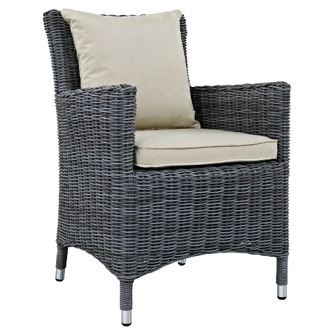 Summon Dining Outdoor Patio Sunbrella® Armchair in Antique Canvas Beige - Modway - image 1 of 4