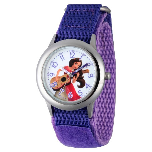 Girls' Disney Elena of Avalor Stainless Steel  Time Teacher Watch - Purple - image 1 of 2