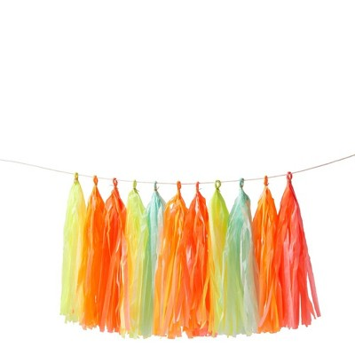 Meri Meri – Neon Tassel Banner – Party Decorations and Accessories - 10.5'