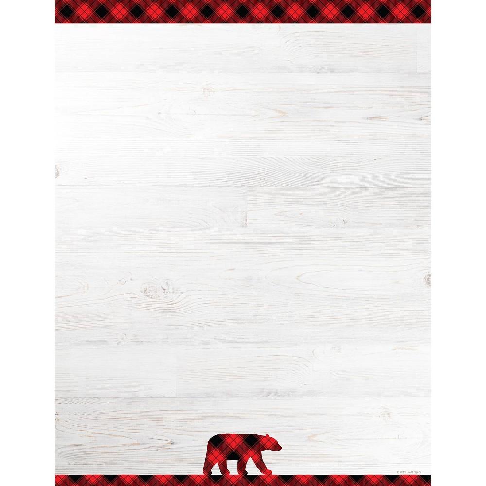 Image of 80ct Black Buffalo Plaid Letterhead, Beige