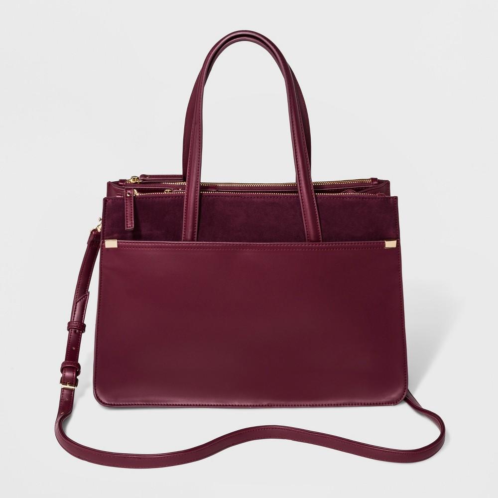 Laurel Multi-Zip Satchel Handbag - A New Day Burgundy (Red), Women's, Size: Large