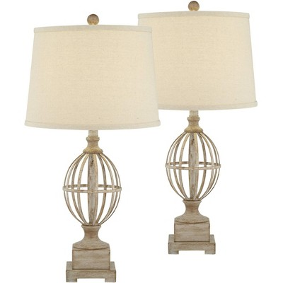 Regency Hill Modern Farmhouse Table Lamps Set of 2 Faux Light Oak Wood Open Orb Cage Oatmeal Tapered Drum for Living Room Bedroom