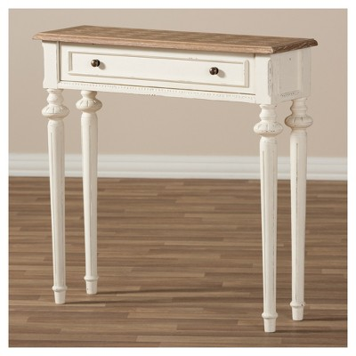 Marquetterie French Provincial Style Weathered Oak Wash And Distressed Wood  Finish Two   Tone Console Table   White   Baxton Studio
