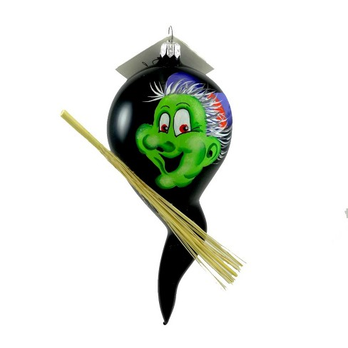 Laved Italian Ornaments Green Faced Witch Ghost Halloween Straw Broom  -  Tree Ornaments - image 1 of 2
