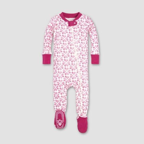 Burt's Bees Baby® Baby Girls' Organic Cotton Stitched with Love Sleeper - Azalea - image 1 of 2
