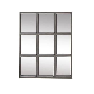 """33"""" x 36"""" Contemporary Iron Rectangular Wall Mirror Gray - Olivia & May"""