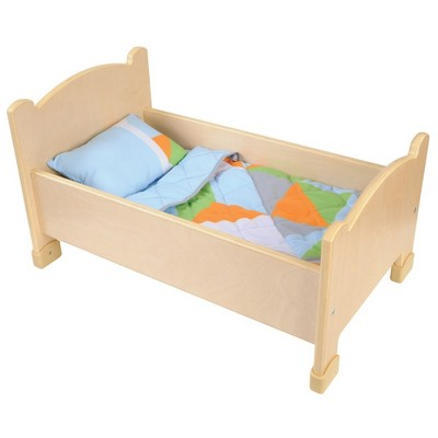 Kaplan Early Learning Wooden Doll Bed with Bedding