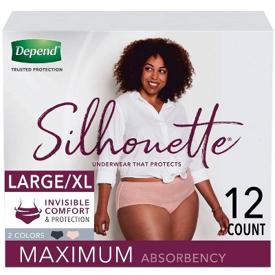 Depend Silhouette Incontinence Underwear for Women - Maximum Absorbency - Large/Extra-Large - Pink & Black - 12ct