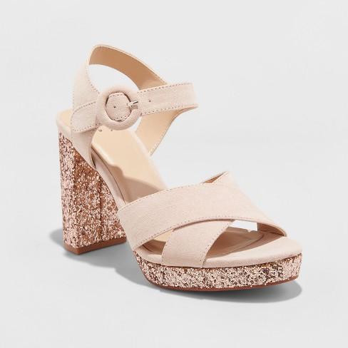 Women's Fiona Glitter Satin Crossband Platform Quarter Strap Sandal - A New Day™ - image 1 of 3