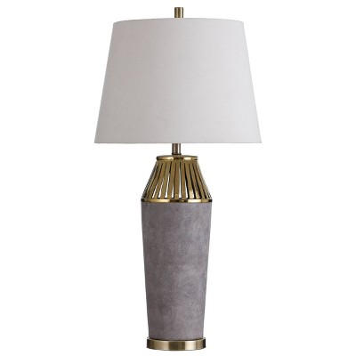 Ceramic Column with Slotted Top Table Lamp Gray - StyleCraft