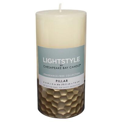 Fragrance Free Pillar Candle - Cream/Gold - 6  - Chesapeake Bay Candle