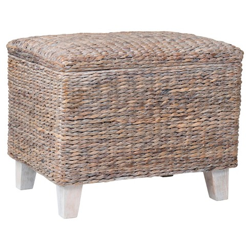 Wingo Rectangular Teakwood And Waterhyacinth Storage Ottoman - Off White - East At Main - image 1 of 6