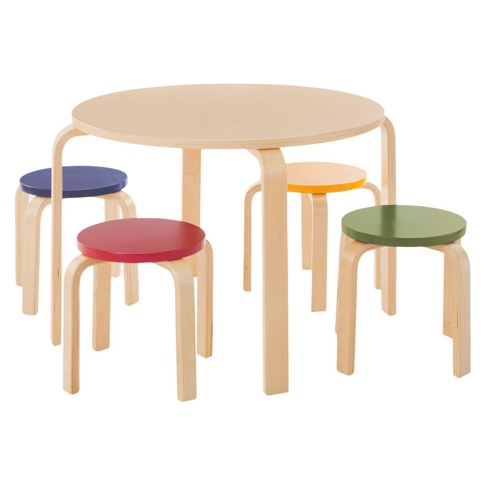5 Piece Kids Table and Stools Set - Primary - Guidecraft, Natural/Primary