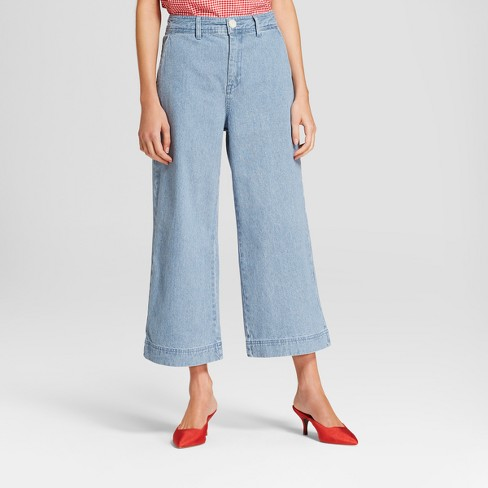 Women's Striped Wide Leg Spring Trouser - Who What Wear™ Blue - image 1 of 3