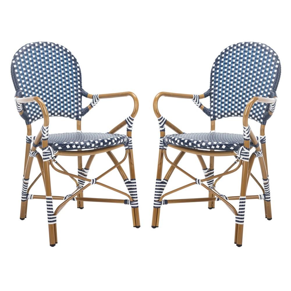 Set of 2 Hooper Indoor-Outdoor Stacking Armchair Navy (Blue) - Safavieh