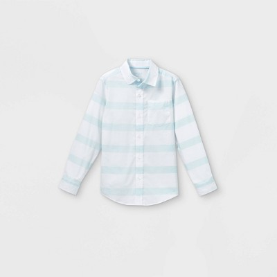 Boys' Woven Long Sleeve Button-Down Shirt - Cat & Jack™ White/Blue