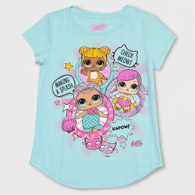 Girls' L.O.L. Surprise! Mermaid Short Sleeve T-Shirt - Blue