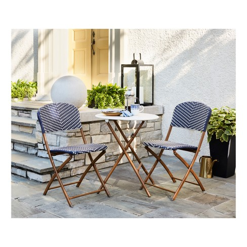 French Café 3pc Wicker Patio Folding Bistro Set Navy White Threshold