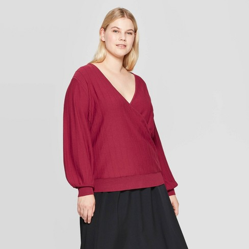 Women's Plus Size V-Neck Wrap Pullover Sweater - Prologue™ Red - image 1 of 3
