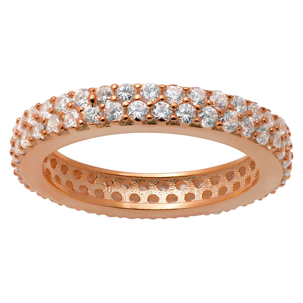 2/5 CT. T.W. Round-Cut CZ Pave Set Polished Band in Sterling Silver - Rose Gold, 6, Girl's