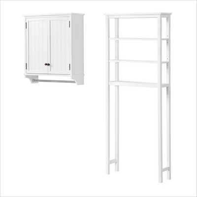 Dover Over the Toilet Wall Mounted Bathroom Storage Cabinet with Two Doors and Towel Rod White - Alaterre Furniture