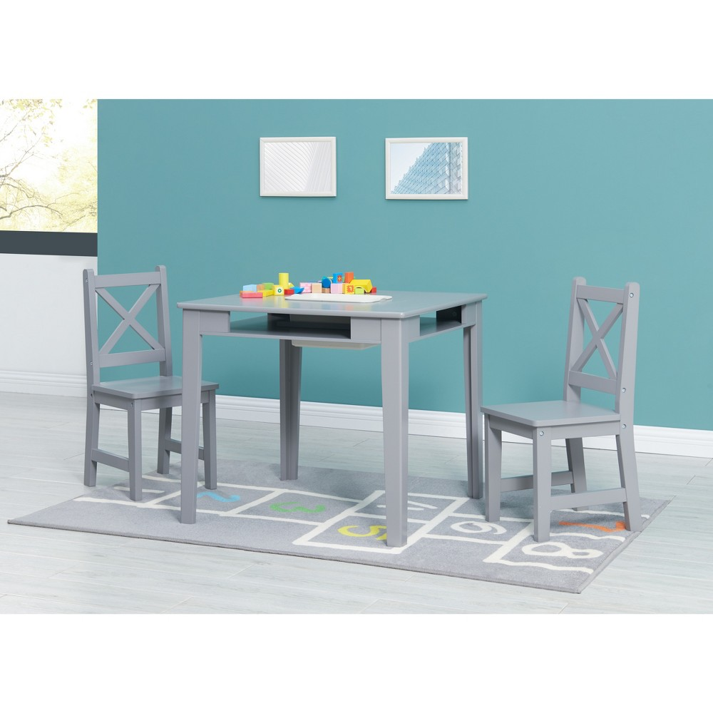 Image of 3pc Kids Table and Chairs Gray - Acesentials