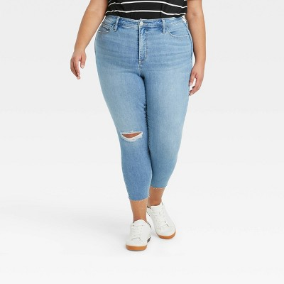Women's Plus Size High-Rise Destructed Skinny Jeans - Ava & Viv™ Light Wash