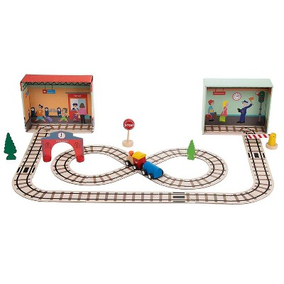 Train Set for Toddlers - 39-Piece Puzzle Train Set - Includes Wooden Toy Train, Railway Puzzle Pieces, Station Signs | Educational Pretend Play Gift