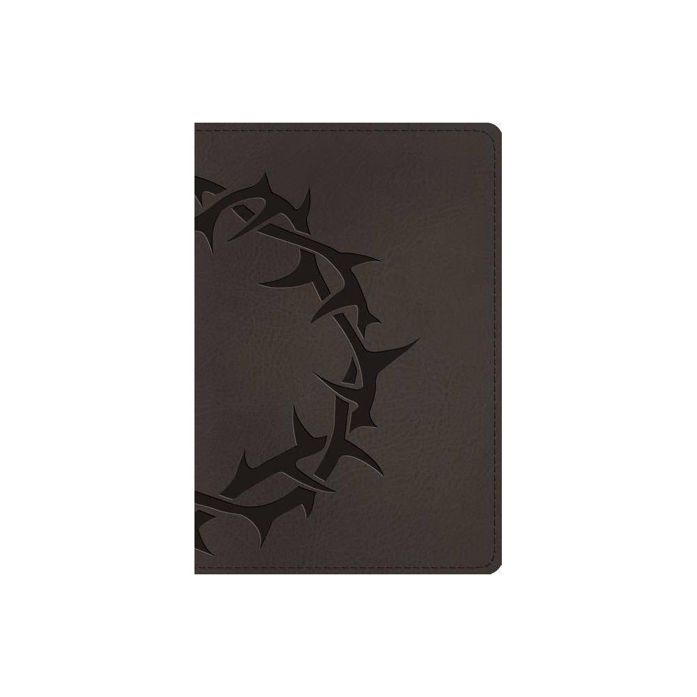 Esv Large Print Compact Bible Trutone Charcoal Crown Design Leather Bound