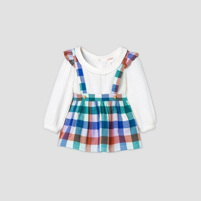 Baby Girls' Flannel Plaid Long Sleeve Skirtall Gauze Top & Bottom Set - Cat & Jack™ Cream 3-6M