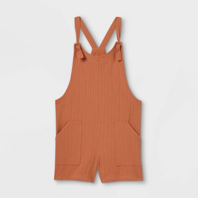Girls' Woven Sleeveless Romper - art class™ Orange