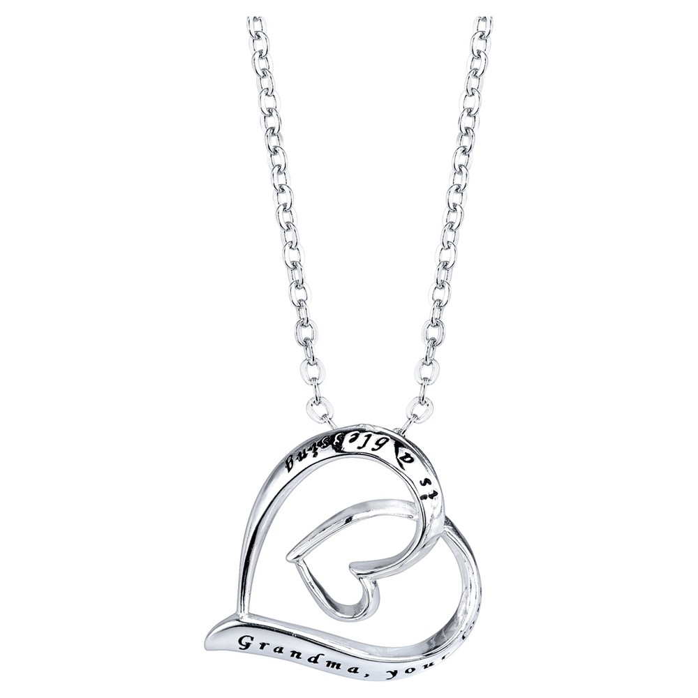 Women's Sterling Silver Grandma your love is a blessing Pendant - Silver (18)
