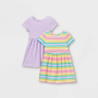 Toddler Girls' 2pk Rainbow Striped Dress - Cat & Jack™